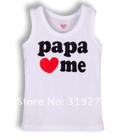 HOT SALE!!NEW ARRIVAL,free shipping!baby sleeveless T-shirt,papa/mama love me tops,kids cotton vest,baby summer cloth,16pcs/lot