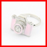 Min.order is $15 (mix order) Free Shipping&Low Price Fashion Jewelry Personalized Camera Ring (Pink) R190