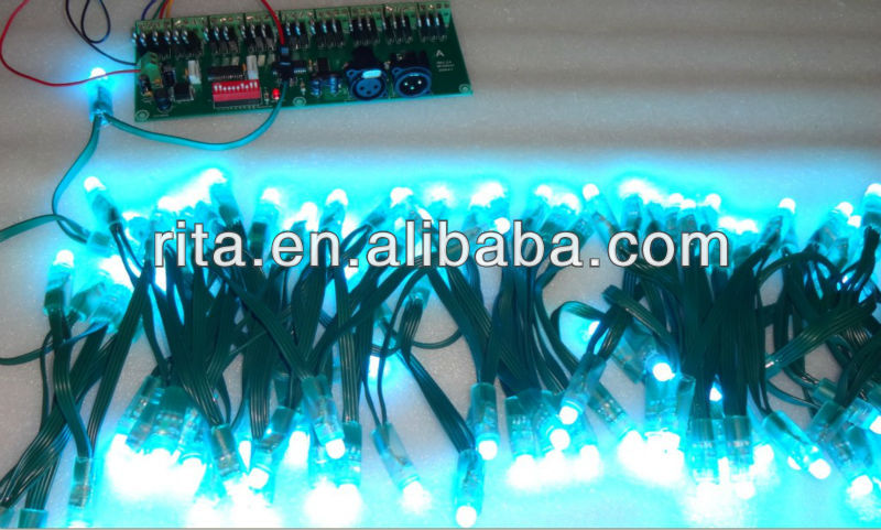 GREEN wire IP68 DC12V input 12mm through-hole LED RGB dump node;100pcs a string