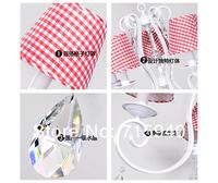 Люстра Korean fabric iron lamp dining room bedroom Lamp White Crystal Chandelier