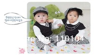 Комплект одежды для мальчиков 5 piece long-sleeve Children's Clothing Sets baby boy plaid set gentleman suits for children hat+tie+t-shirt+vest+pants