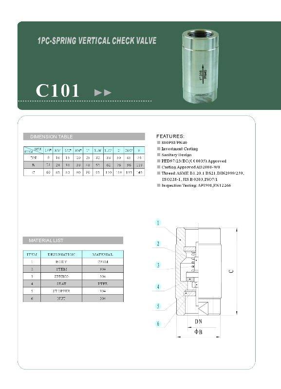 1 pc body vertical check valve