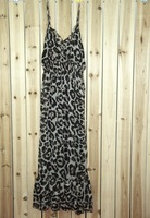leopard dress hot sale chiffon spaghetti strap V-collar ladie beach dresses low price sale for credit free shipping