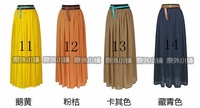 Женская юбка 2013, spring summer women fashion maxi long skirt European style popular Chiffon pleated 100cm long skirt 19 colors