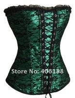 Корректирующий женский топ 1 set! Sexy corset, Sexy Satin boned CORSET Bustier green
