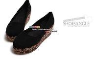 последние дизайн Осенний женщин пу указал леопарда печати квадратных ног обувь, flattie, плоские туфли, туфли