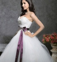 CTDA 162Free Shipping  charming Satin Beadings Wedding Dress