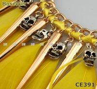 Punk Style Neon Choker Necklace,Fashion Antique Skeletons Feathers & Rivet Tassels,HI-Q Chains,3colors CE391
