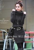 женский стиль длинный свитер платье, Женские свитера, сгустить свитер 4 цвета, ремень в подарок