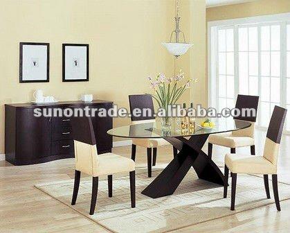 2012 cristal ovalada mesa de comedor con base de madera for Bases para mesas de vidrio comedor
