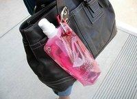 Розничная 2шт складной многоразовые бутылки воды спорта открытый мешок воды чайник с карабин 16 унций 480 мл