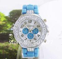 Наручные часы Women's cyrstal Silicone quartz watch, fashion wrist watches Ladies NW264
