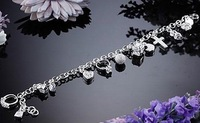 Браслет Crazy price! silver 13 charms bracelet.fashion jewelry., USD, mix order accept