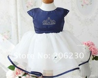 Платье для девочек 1 Set baby suits girl dress Crown princess dress Princess dress blue cotton suit