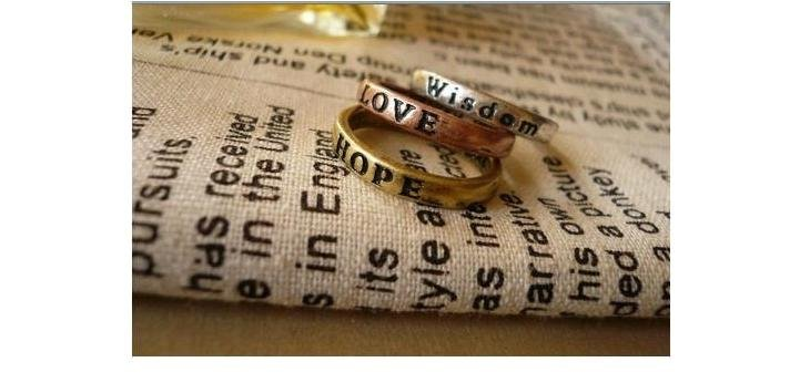 Free Shipping~ Vintage Korea Style Simple Emgraving Wish Alloy Ring, 6pcs/set with different engraving, Fashion Jewelry Ring