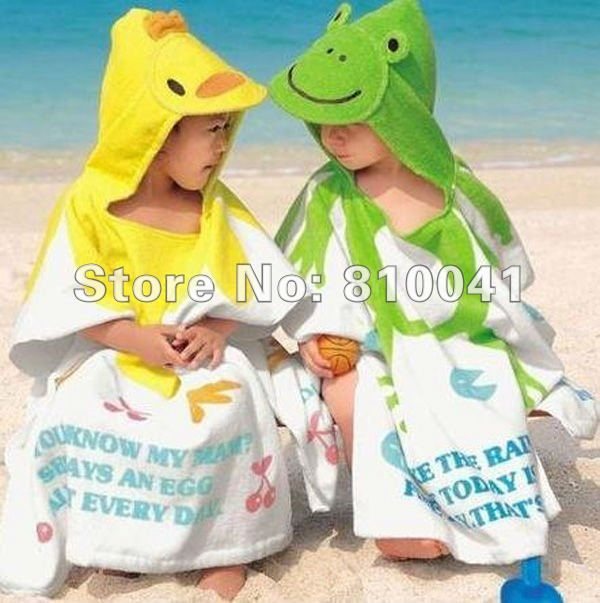 Wholesale Kids Animals Designs Bathrobe Children Terry Bath Gown Four Designs 6 Pcs Per Lot Free Shipping