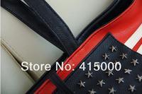 Free Shipping 2012 New Arrivals Women PU leather USA American Flag Shoulders Bag Handbag Duffle brand rivet stars message bag