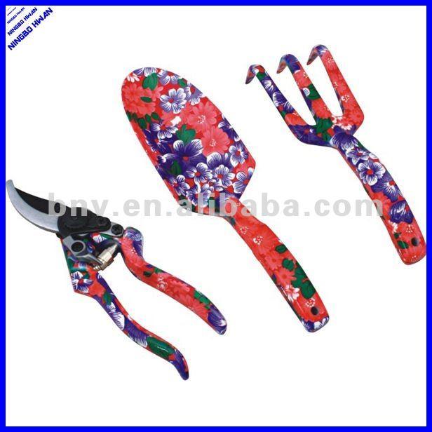 2014 new design 3 pcs printed personal mini garden tools for Ladies gardening tools