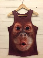 Женский топ 2013 Fashion women/men animal 3D Sleeveless Slim wild t shirts Men 3d Vest tank top loose galaxy top