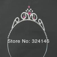 Ювелирное украшение для волос ree shipping 6pcs/lot shiny silver crystal charming children tiara nice hairbands Crown Princess headwear