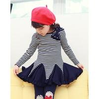 Комплект одежды для девочек New 100% cotton Children's lovely dresses, baby girl long sleeve Dress + leggings Set