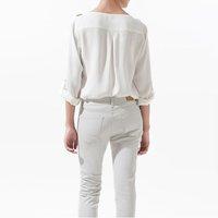 NEW, dropship wholesale unique shoulder rivet chiffon women's blouse