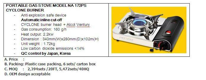 CERAMIC BURNER MINI PORTABLE GAS STOVE MODEL: TB-171AS