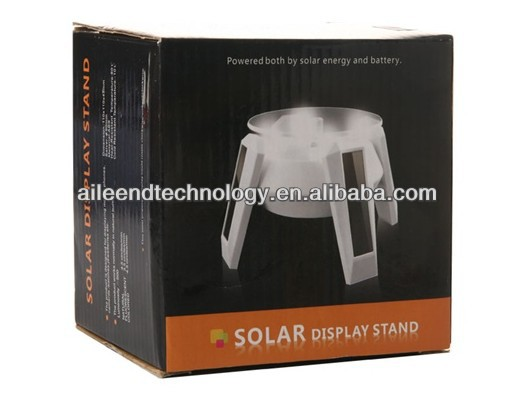 Rotating solar power advertising display,solar display stand for Mobile Phones Cameras ,white solar power rotating display stand
