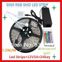 Free Shipping Complete One Set Of RGB 5M 5050 SMD String Led Colorful  Waterproof IP65 Stripes Decoration Flexible Light Led