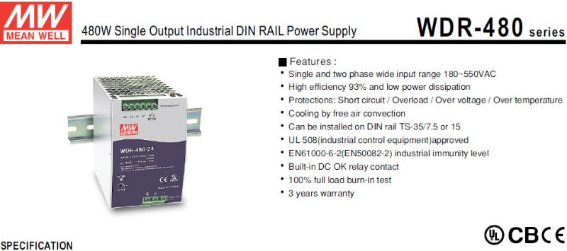 MEANWELL 480W 24V single output Din rail high voltage switching power supply with PFC function UL/CB/CE approvals