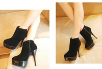 free shipping/2012 new frosting round toe thin heels platforms shoes,women ankle boots, high-heeled shoes,lady shoes pumps.