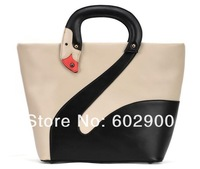 Newest design swan handbags, fahion cute syle women tote bags, wholesale ladies color blocking bags, 4 colors, dropshipping