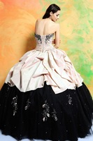 Платье на студенческий бал Floor-Length Ball Grown Strapless Appliques Pink Taffeta Quinceanera Dresses High-Quality