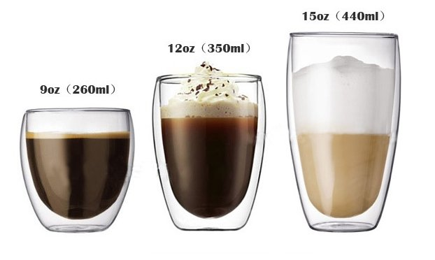 Free Shipping Mod2Pcs Europe Style Double Wall Glass Coffee Cup,Mug,Teacup 350ml