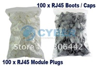 Компьютерные аксессуары 8p8c RJ45 RJ-45 Connectors Modular 100 Plugs+Boots CAT5 Retail