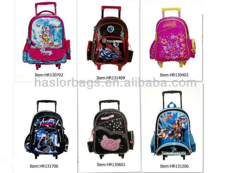 Gros enfants Trolley sac d'école avec des roues pour les garçons chariot sac à dos