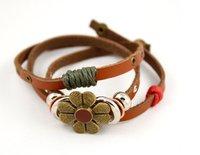 Кожаный браслет National retro style flower bracelet leather bracelet korean fashion bracelet best gift S5080