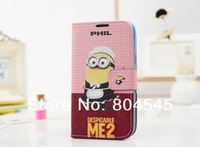 Cartoon Minion Despicable Me Flip Wallet Card Holder Stand Leather Case Cover For Samsung Galaxy S3 I9300 Note 2 N7100 Bag Purse