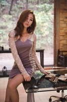 Платье для вечеринки 2013 Newest Long Sleeve Lace Jointing Party Dress with