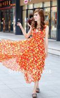 Free Shipping 2012  New Bohemian Style Chiffon Floral Dress 12071401