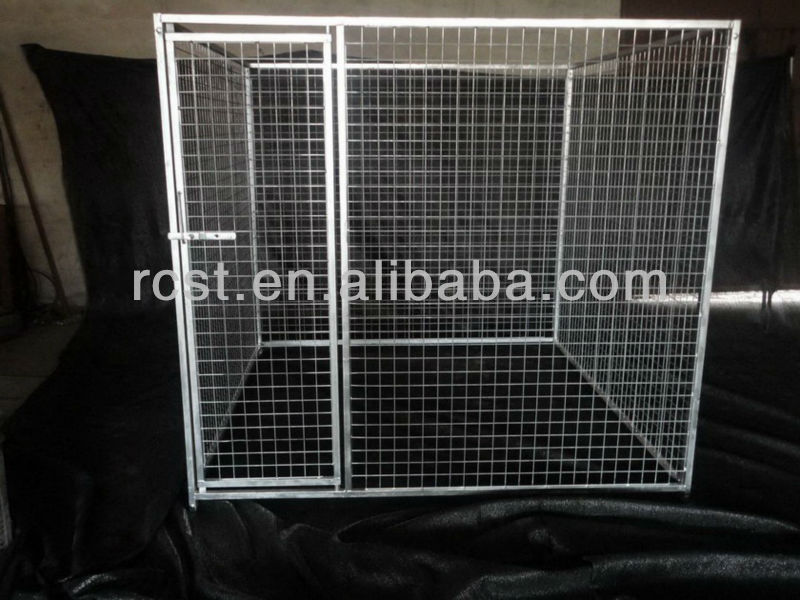 Powder coated square tube dog cage 2-room 2-door