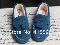 Женские мокасины Winter Newest Design Genuine Leather Tassel Warm Plush Loafers Fashion Flats 3 colors size 35-39
