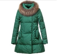 Женские пуховики, Куртки 2013 New Arrived Winter Thick Extra Large Fur Collar Down Coat White Duck Feather Women's Medium-long Jacket Outerwear parka 07
