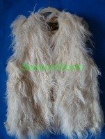 Женский жилет EMS ] High Quality Long Mongolian Lamb Fur Vest / 100% Sheep Fur Vest