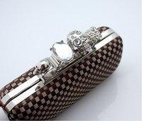 Вечерняя сумка 2013 Ladies' Skull Clutch Knuckle Rings Handbag, Four Fingers Evening Bag, Shoulder Chain punk wallet, AEB043