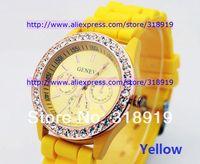 Наручные часы Fast shipping fashion rose diamond stone Geneva watch candy jelly silicone band Unisex Quartz 11 colours watches 200pcs/lot