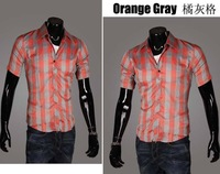 Мужская повседневная рубашка summer fashion short sleeve Casual Shirts for man's 16 colors plaid male comfortable shirt Asia S-XXL C412