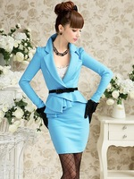 Женское платье 2012 new style, elegant dress, office dress, OL style dress, sheath style dress, blue dress, lady dress, summer dress