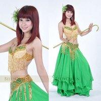 сексуальная профессиональный танец живота костюм #804 2шт или 3шт золото зеленого цвета доступны