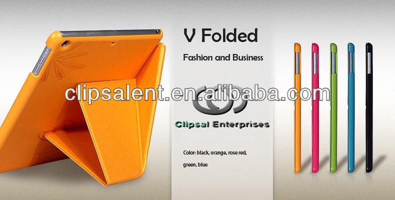 Orange PU V Folded series tablet leather case for ipad air tablet case for ipad air 5